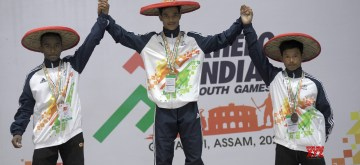 Guwahati: Winners of Under 17 Boys 49kg Weightlifting at the third edition of Khelo India Youth Games -  Mukund Sontosh Aher from Maharashtra bagged Gold, Uday Anil Mahjan from Maharshtra bagged Silver and Nameinakpam Tomchou Meetei from Manipur bagged Bronze, in Guwahati on Jan 16, 2020. (Photo: IANS/PIB)