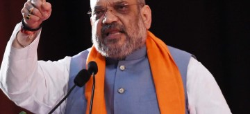 Lucknow: BJP chief Amit Shah addresses during a party programme in Lucknow on Feb 23, 2019. (Photo: IANS)