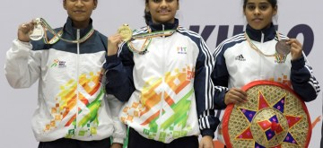 New Delhi: Winners of Under 17 Girls 45kg Weightlifting at the third edition of Khelo India Youth Games -  Harshada Sharad from Maharshtra bagged Gold, Gyaneswari Yadav from Chhattigarh bagged Silver and Radha Soni from Uttar Pradesh bagged Bronze, in Guwahati on Jan 16, 2020. (Photo: IANS/PIB)