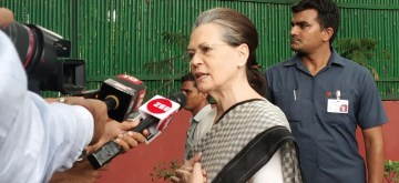New Delhi: UPA Chairperson Sonia Gandhi at Congress headquarters to pay tribute to former Delhi Chief Minister  Sheila Dikshit in New Dlehi on July 21, 2019. (Photo: IANS)