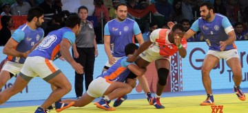 Ahmedabad: Players in action during a 2016 Kabaddi World Cup match between India and England in Ahmedabad on Oct 18, 2016. (Photo: IANS)