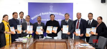 "New Delhi: Union Human Resource Development Minister Ramesh Pokhriyal 'Nishank' releases the ""Vision Document of Inter University Centre for Teacher Education (IUCTE)"", BHU, Varanasi; in New Delhi on Feb 10, 2020. (Photo: IANS/PIB)"