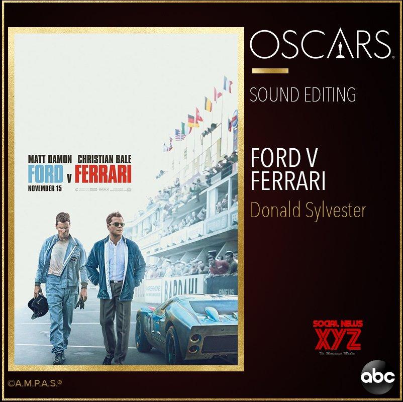 Donald Sylvester Wins The Oscar For Sound Editing For Ford Vs Ferrari At Oscars 2020 Social News Xyz