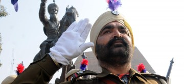 Amritsar: Punjab police personnel pay tributes to the Sikh warrior General Sardar Sham Singh Attari on the occasion of his 174th Martyrdom Day, in Amritsar on Feb 10, 2020. (Photo: IANS)