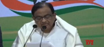 New Delhi: Former Finance Minister and Congress leader P. Chidambaram addresses a press conference after the presentation of the Union Budget 2020-21 by the current Finance Minister Nirmala Sitharaman in the Parliament; at the party's headquarters in New Delhi on Feb 1, 2020. (Photo: IANS)