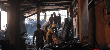Kolkata: Firefighting operations continue at the plywood go-down that was gutted by a major fire last night, in Kolkata on Feb 11, 2020. (Photo: Kuntal Chakrabarty/IANS)