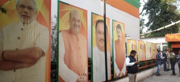 New Delhi: A view of the Delhi BJP office during the counting of votes for the Delhi Assembly elections 2020, on Feb 11, 2020. (Photo: IANS)