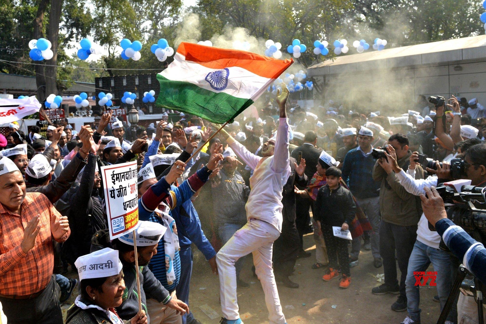 New Delhi: Kejriwal celebrates AAP's landslide victory in Delhi Polls 2020 (Batch - 3) #Gallery