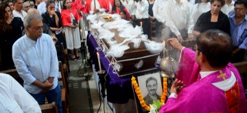 Goa: People at the funeral of India's top fashion designers and gay icon Wendell Rodricks at ancestral village of Colvale in North Goa  on Feb 13, 2020. (Photo: IANS)