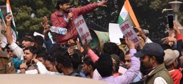 Patna: Students protest against demanding CBI probe in exam paper leak in Patna on Feb 13, 2020. (Photo: IANS)