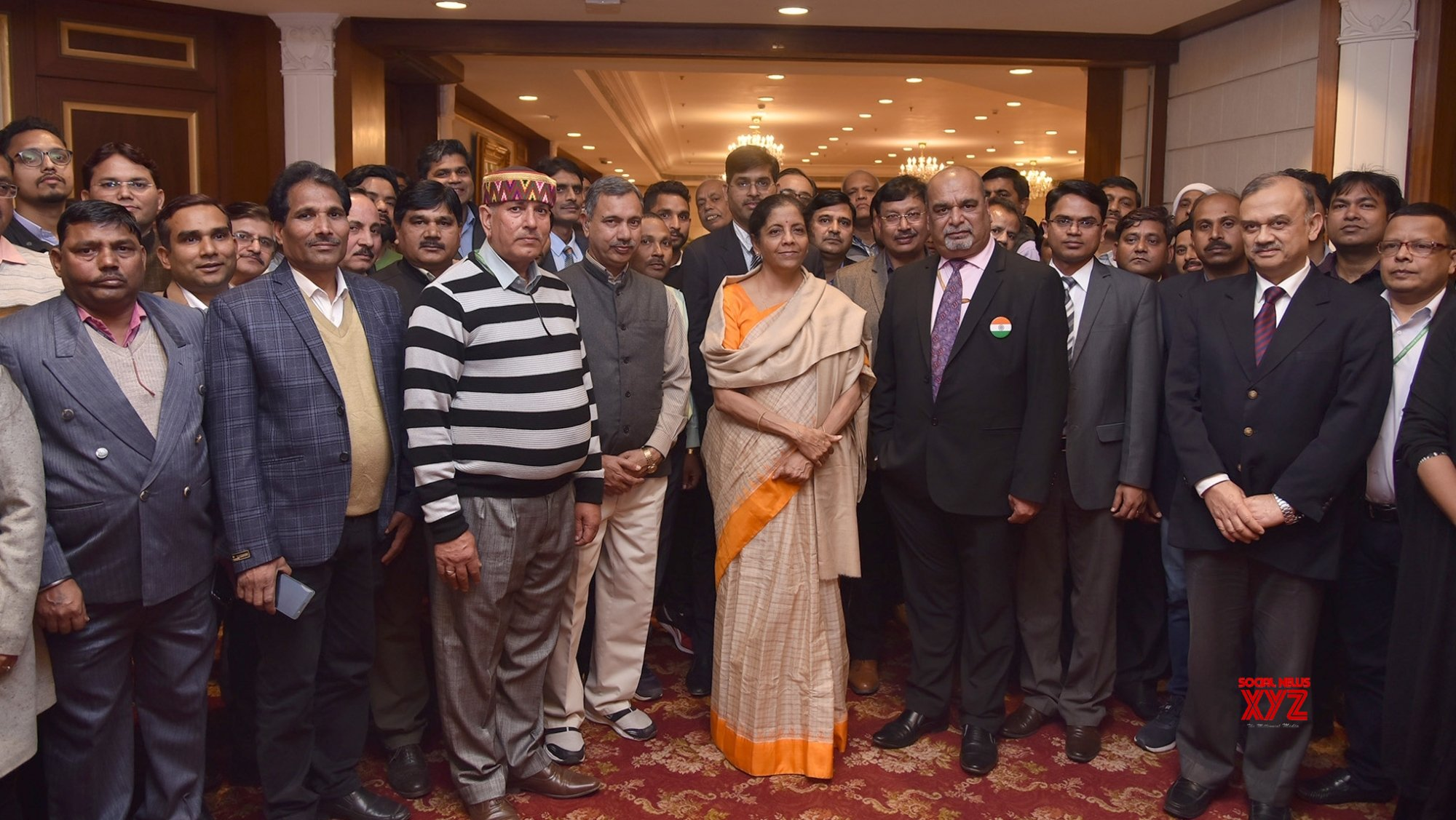 New Delhi: Union Finance Minister Sitharaman meets staff and officers of the Budget Division and Budget Press #Gallery