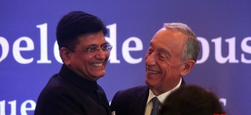 "Mumbai: Portuguese President Marcelo Rebelo de Sousa and Union Minister for Commerce and Industry Piyush Goyal during the ""India Portugal Business Forum"" organised by CII in Mumbai on Feb 15, 2020. (Photo: IANS)"