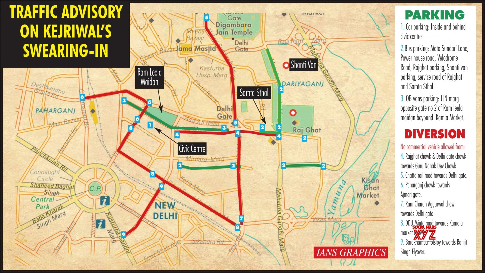 Infographics: Traffic Advisory On Kejriwal's Swearing - In #Gallery