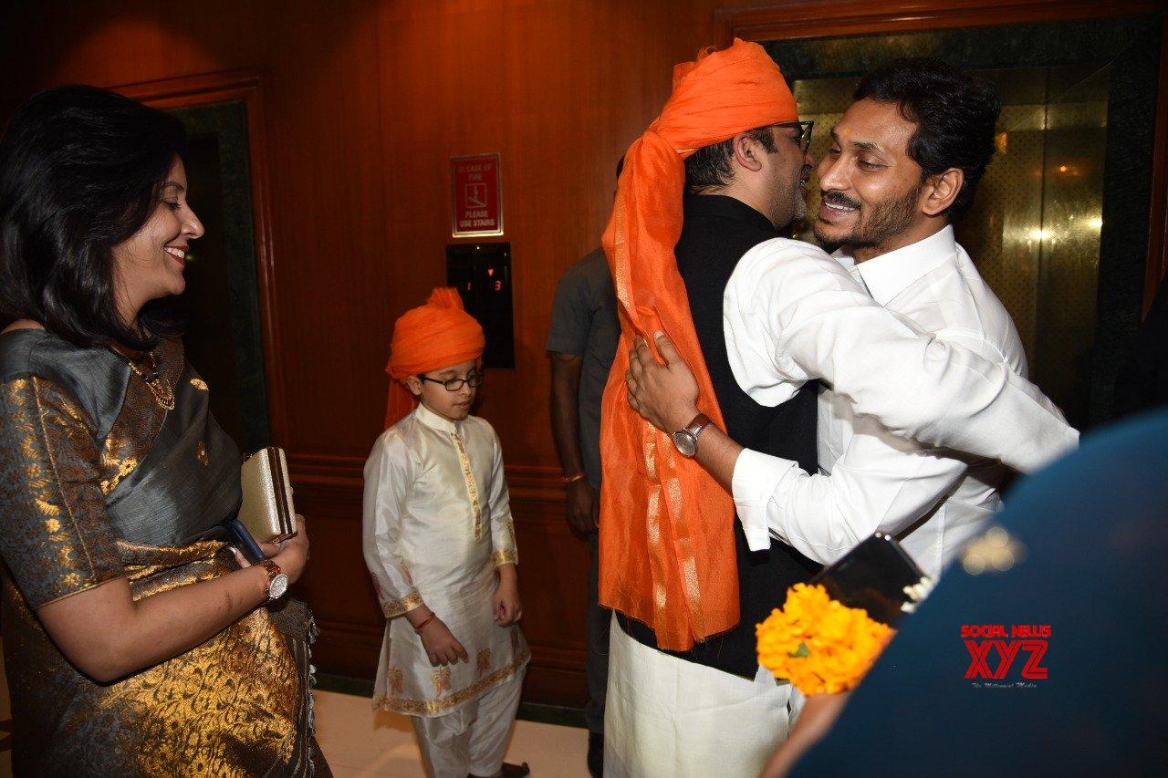 Andhra CM YS Jagan With Wife Bharathi Attended Marriage Reception Of Rishi Raj Singh Member Of Prashant Kishor's IPAC Team - Gallery