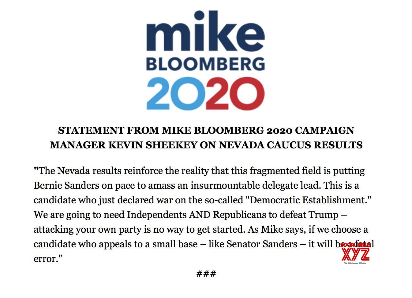 Mayor Mike Bloomberg Campaign Statement On Senator Bernie Sanders Nevada Caucus Win