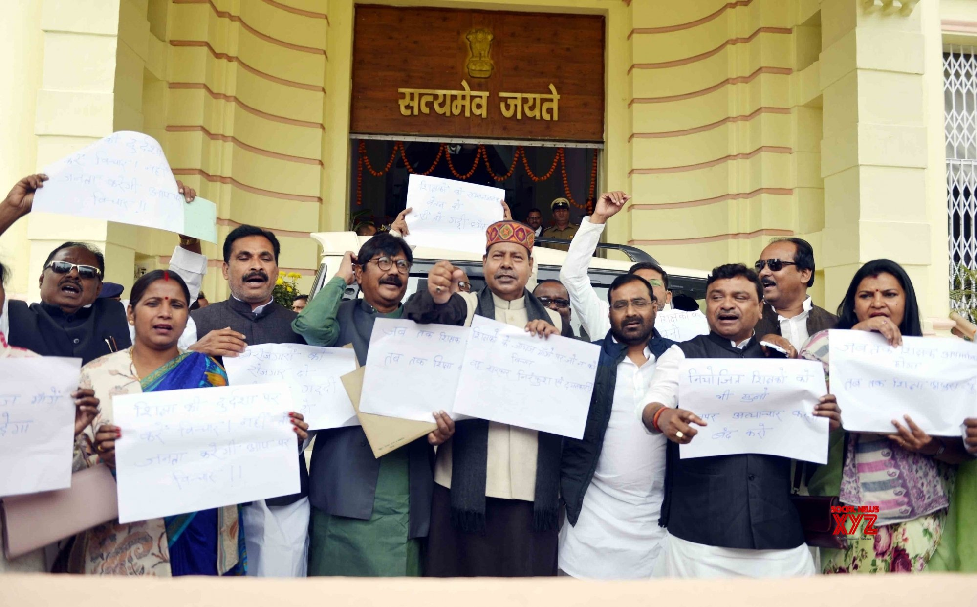 Patna: RJD's protest during Bihar Assembly Budget Session #Gallery