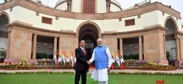 New Delhi: Myanmar President U Win Myint and Prime Minister Narendra Modi, at Hyderabad House, in New Delhi, on Feb 27, 2020. (Photo: IANS/PIB)