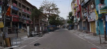 Patna: A Patna street bears a deserted look during a complete lockdown for 21 days announced by Prime Minister Narendra Modi to prevent further spreading of the COVID 19 pandemic in India; on March 25, 2020. (Photo: IANS)