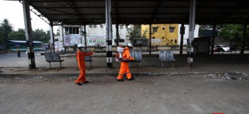 Chennai: Chennai Municipal Corporation workers spray disinfectants across the city on Day 2 of the 21-day nationwide lockdown imposed by the Narendra Modi government over the coronavirus pandemic; on March 26, 2020. (Photo: IANS)