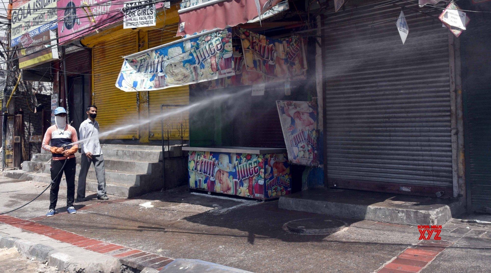New Delhi: Sanitisation drive conducted at Delhi's Laxmi Nagar during lockdown #Gallery