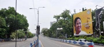 Kolkata: A Kolkata road bears a deserted look during the extended nationwide lockdown imposed to mitigate the spread of coronavirus; on Apr 22, 2020. (Photo: Kuntal Chakrabarty/IANS)