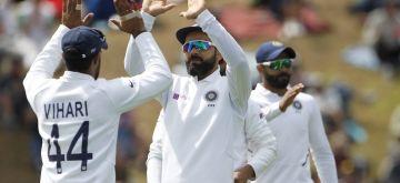 Wellington: India's Virat Kohli and Hanuma Vihari celebrate the wicket of Kyle Jamieson on Day 3 of the 1st Test match between India and New Zealand at the Basin Reserve cricket ground in Wellington, New Zealand on Feb 23, 2020. (Photo: Surjeet Yadav/IANS)