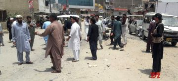 BANNU, May 11, 2018 (Xinhua) -- People gather at the blast site in northwest Pakistan's Bannu on May 11, 2018. A policeman was killed and 13 others were injured when a remote-controlled bomb went off near a police vehicle in Pakistan's northwestern Khyber Pakhtunkhwa province on Friday, police said. (Xinhua/Stringer/IANS)