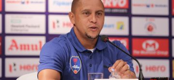 New Delhi: Delhi Dynamos FC player-cum-manager Roberto Carlos addresses during a press conference in New Delhi on Oct 7, 2015. (Photo: Sunil Majumdar/IANS)