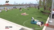 Circles enforce social distancing in NYC park (Video)