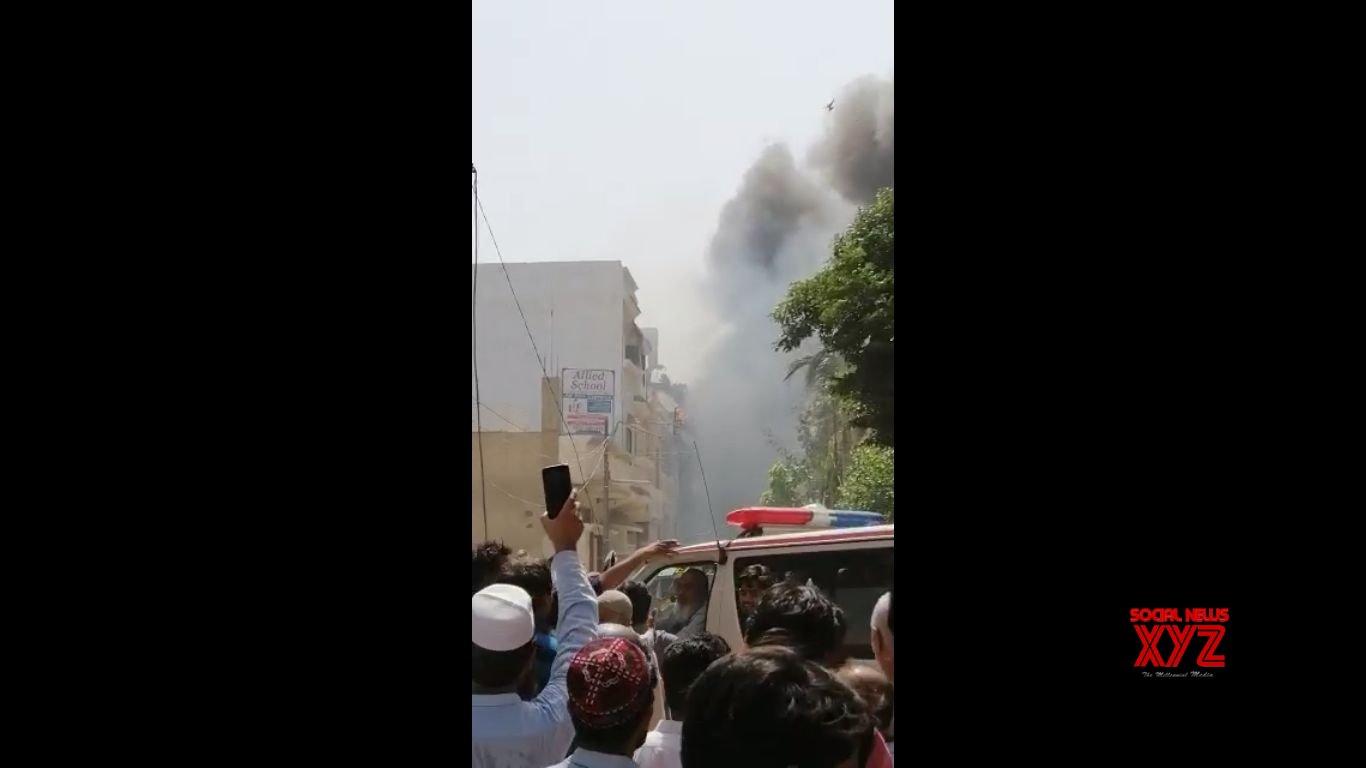 Plane crashes in Karachi residential area near airport