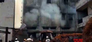 Hyderabad: Fire breaks out in a fan manufacturing unit at Hyderabad's Balanagar on May 28, 2020. (Photo: IANS)