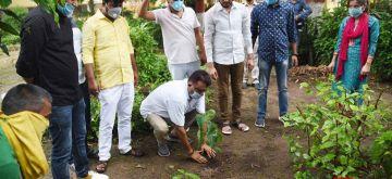Patna: JD-U MLC Ranbir Nandan plants a sapling at Patna's Darbhanga House on the occasion of World Environment Day on June 5, 2020. (Photo: IANS)