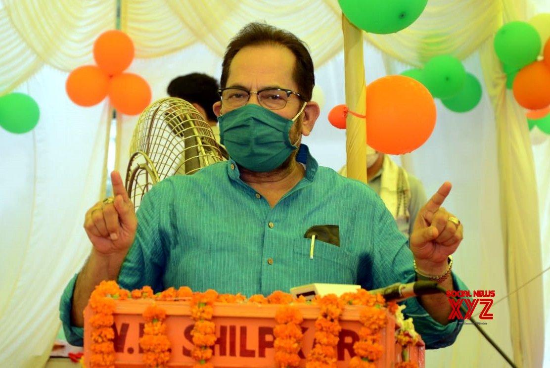 "Rampur: Mukhtar Abbas Naqvi lays foundation stone for ""Sanskritik Sadbhav Mandap"" in UP #Gallery"