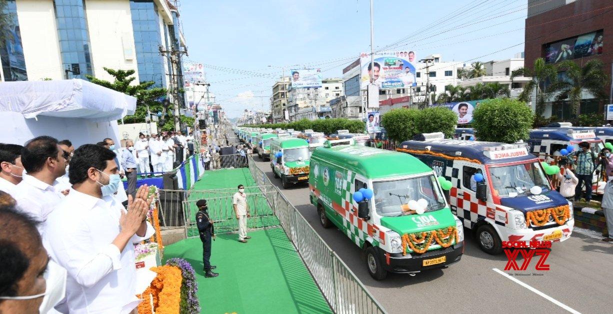 Amaravati: Andhra CM flags off 1,088 vehicles of '108' and '104' ambulances #Gallery