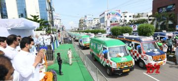 Amaravati: Andhra Pradesh Chief Minister Y.S. Jagan Mohan Reddy flags off 1,088 vehicles of '108' and '104' ambulances, equipped with modern life support systems to provide quick and better medical attention, in Amaravati on July 1, 2020. (Photo: IANS)