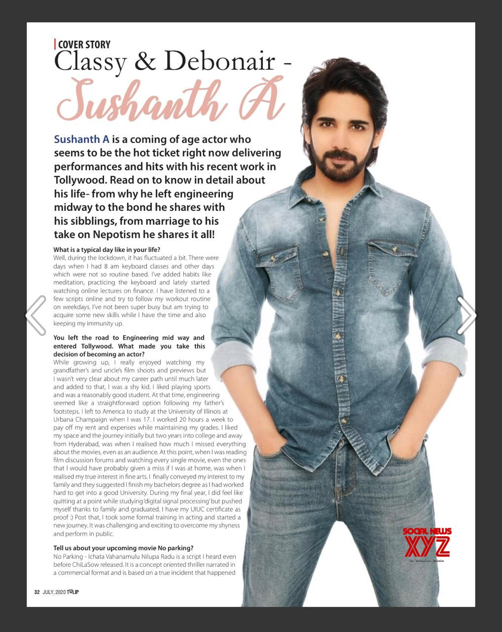 Sushanth's Classy And Debonair Cover Story In Tulip Magazine