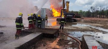 Tinsukia: Oil India Limited (OIL) workers engaged in operations to put out the fire and cap the leaking oil well in Baghjan in Tinsukia district of Assam on July 3, 2020. A massive fire broke out on June 9 at OIL's Baghjan oil well near the Dibru-Saikhowa National Park, that had been spewing natural gas and oil condensates uncontrollably since May 27. (Photo: IANS)