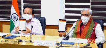 New Delhi: Union Health Minister Harsh Vardhan launches the Ayushman Bharat Health and Wellness Centres Mobile application developed by the Ministry of Health and Family Welfare, at the virtual meeting on the occasion of the World Population Day-2020, in New Delhi on July 11, 2020. Also seen Union MoS Health and Family Welfare Ashwini Kumar Choubey. (Photo: IANS/PIB)