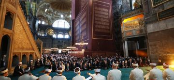 Istanbul, July 24, 2020 (Xinhua) -- People attend the first prayers at Hagia Sophia in Istanbul, Turkey, on July 24, 2020. Thousands of Turkish people on Friday attended the first prayers at Istanbul's Hagia Sophia after it has been transformed into a mosque once again. (Xinhua/IANS)
