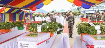 Chandel: Manipur Chief Minister N . Biren Singh pays tributes to the three Assam Rifles soldiers killed and five injured in an ambush near India-Myanmar border at Chandel area in Manipur on Thursday, in Chabdel on July 31, 2020. A senior government officer said that a group of 15 soldiers were returning from an area dominance patrol at Khongtal in Chandel area when an improvised explosive device exploded. The incident happened about three kilometers from the India-Myanmar border. They were returning to their post after three days of operation along the international border. (Photo: IANS)
