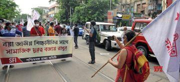 Kolkata : Students Federation of India (SFI) activists protest against the New Education Policy (NEP) 2020, in Kolkata on July 31, 2020. (Photo: Kuntal Chakrabarty/IANS)