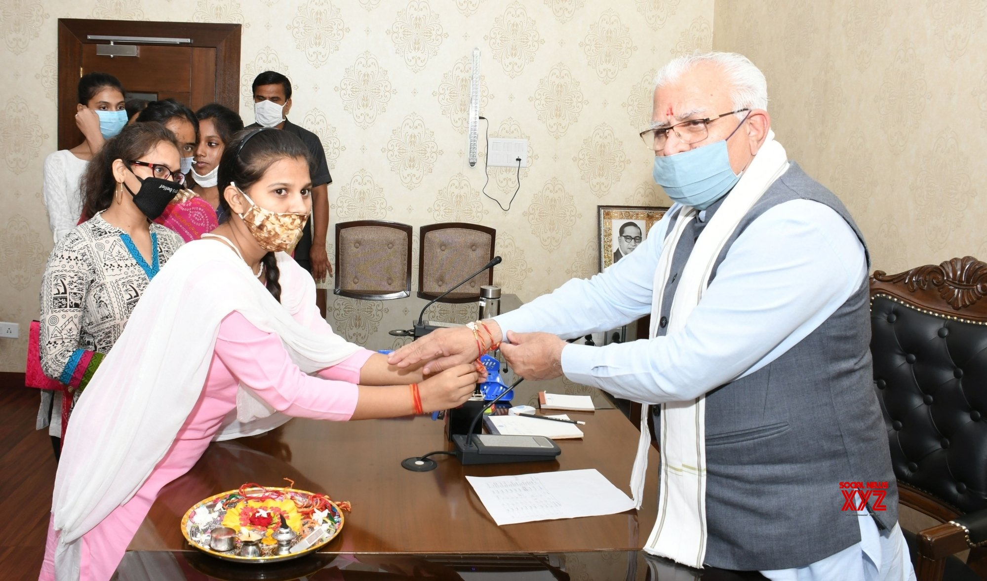 Chandigarh: Orphan girls tie rakhis to Haryana CM on Raksha Bandhan eve #Gallery