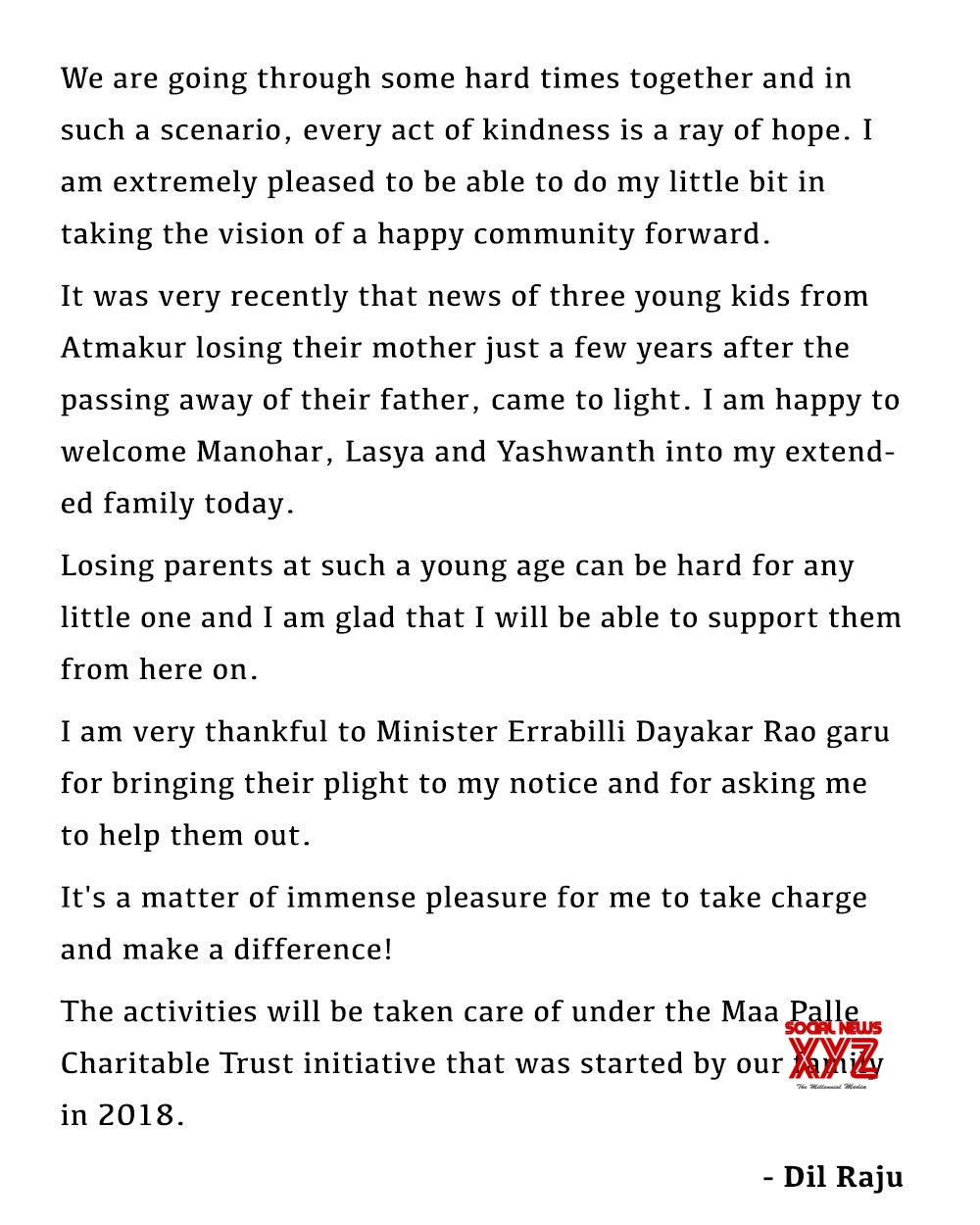 Dil Raju Helps Orphan Kids After Call By Minister Errabelli Dayakar Rao To Help