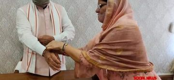 Chandigarh: Haryana Minister of State for Women & Child Development Kamlesh Dhanda ties rakhi to Chief Minister  Manohar Lal Khattar on the occasion of Raksha Bandhan in Chandigarh on Aug 3, 2020. (Photo: IANS)