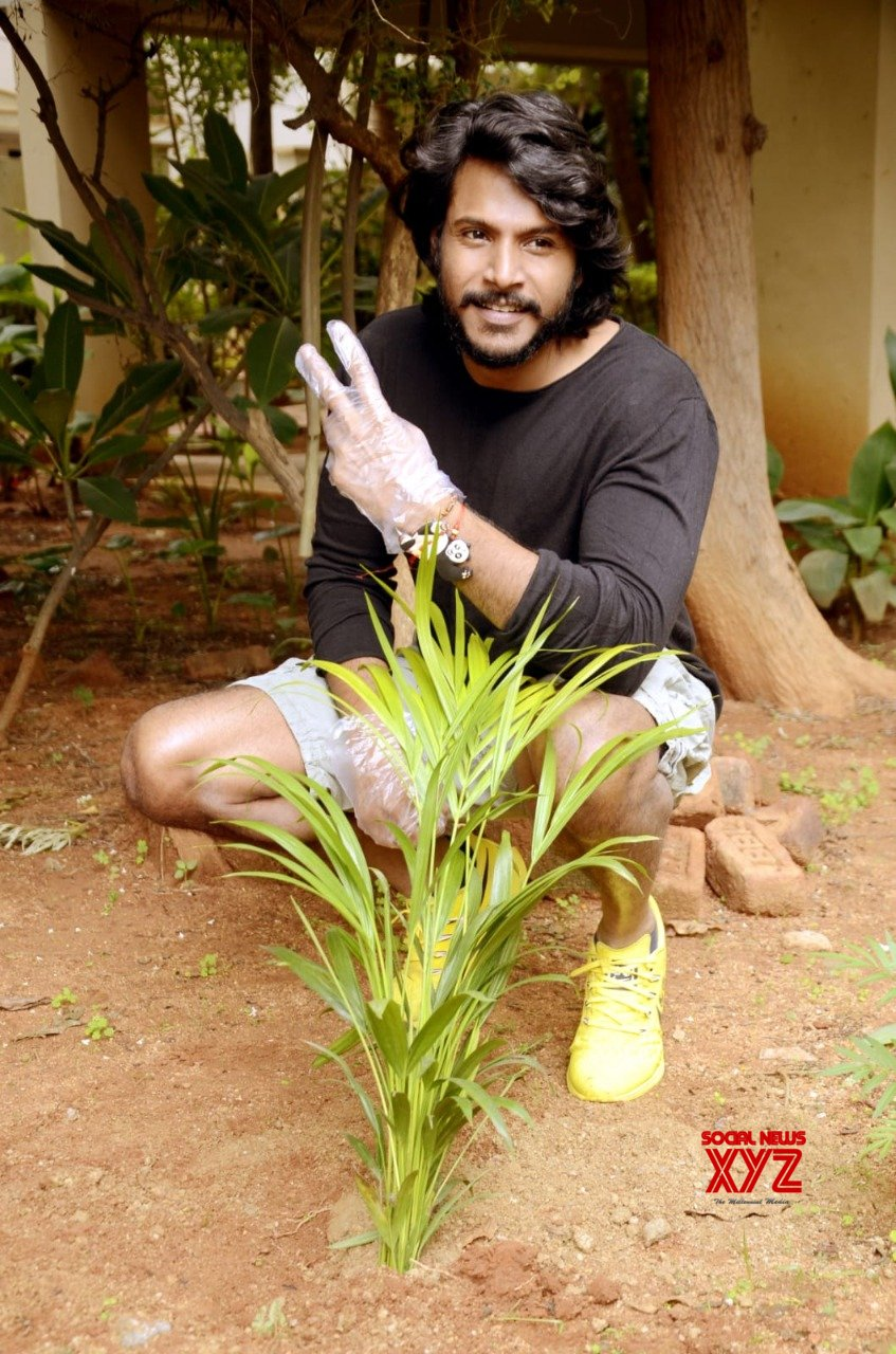 Sundeep Kishan Participated In Green India Challenge By Planting Saplings At His Home After Nominated By Lakshmi Manchu Jeevan Reddy