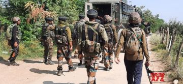 Pulwama: Army personnel carry out cordon and search operation after a soldier was killed while another was injured as they brought down a terrorist in a fierce encounter in South Kashmir's Pulwama district on Aug 12, 2020. (Photo: IANS)