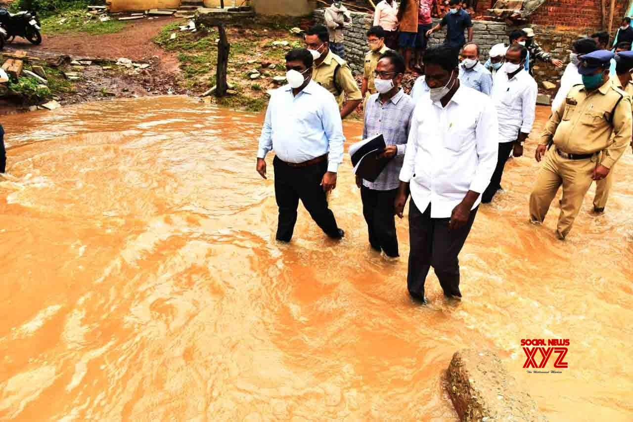 Kurnool: Collector, SP visit Andhra's Nandikotkur village to review flood situation #Gallery