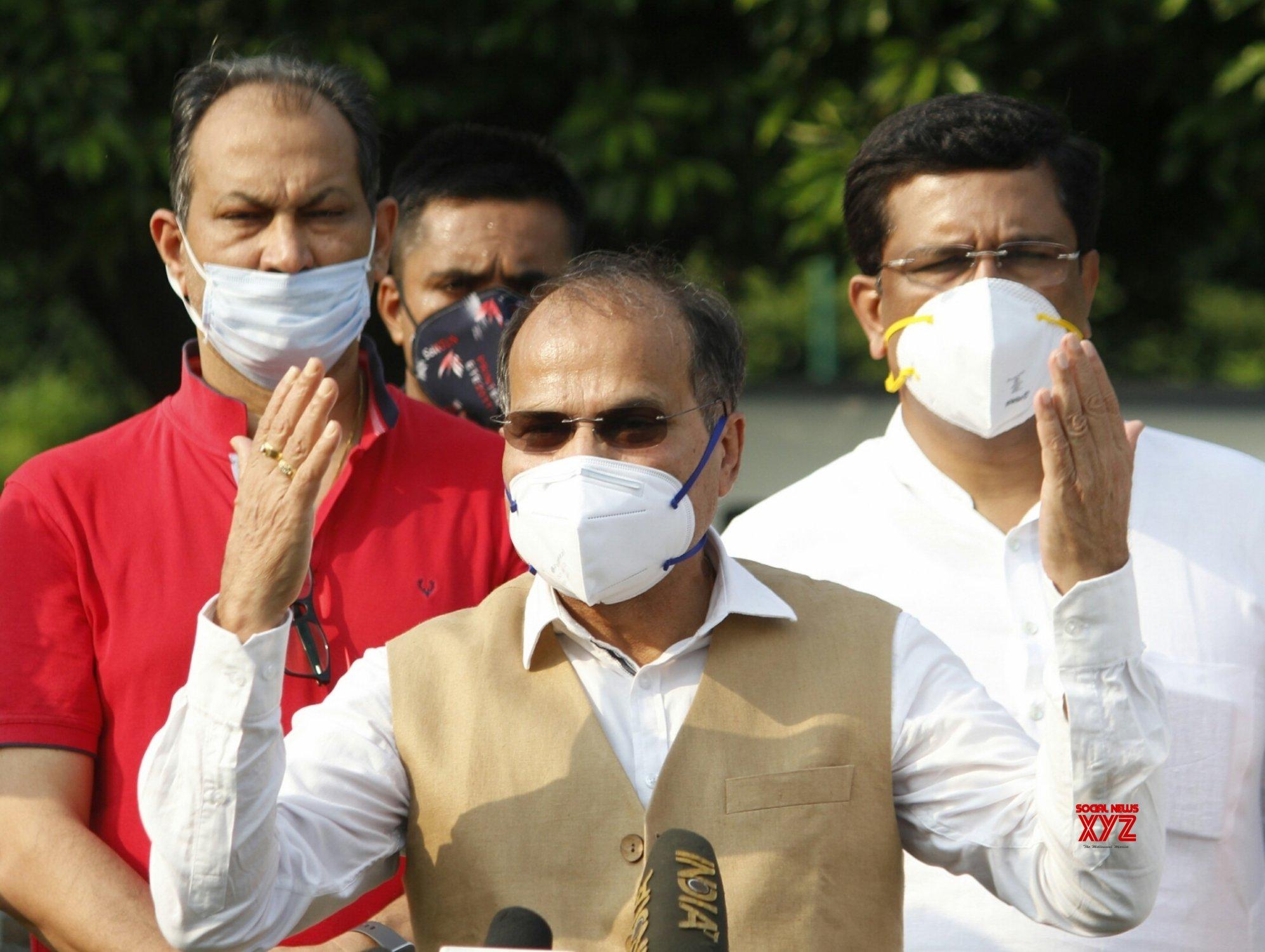 New Delhi: Parliament Monsoon Session: Adhir Ranjan Chowdhry talks to the media #Gallery