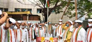 Hyderabad: Telangana Congress President N. Uttam Kuamr Reddy along with other leaders of the party hoist the national flag during Hyderabad Liberation Day celebrations at the state party headquarters in Hyderabad on Sep 17, 2020. (Photo: IANS)