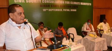 """Patna: Bihar's Minister of Information and public relations department, Neeraj kumar addressing conference organised by CEED on """"Civil Society consultation on Climate Change"""" for the formulation of Public Manifesto, Bihar State Election, 2020 at Hotel Maurya in Patna on September 18, 2020. (Photo: IANS)"""